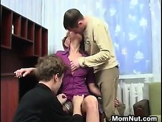 Dirty Blonde MILF In A Threesome With 2 Guys