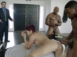 Wife hard fucked by two black dudes and caught by her hubby