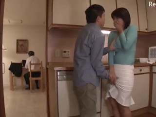 Japanese Milf get stripped naked by boy while her husband is working