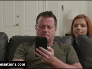 Surprised Dad gets blowjob from Daughter