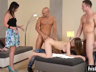 Guy interchange their rod greedy girlfriends