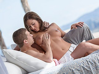 Hot babe Angelica fucks the boss boyfriend at the beach house