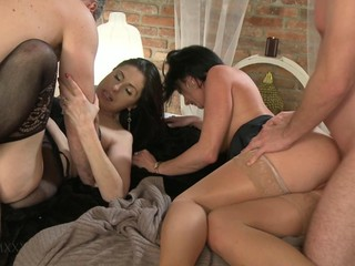 Young and old swinging couples having sex HD