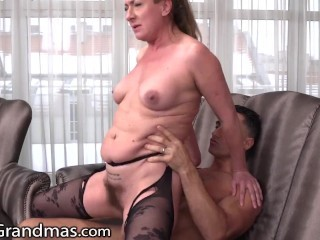 Thirsty Granny Seduces Her New Jock Neighbor - LustyGrandmas